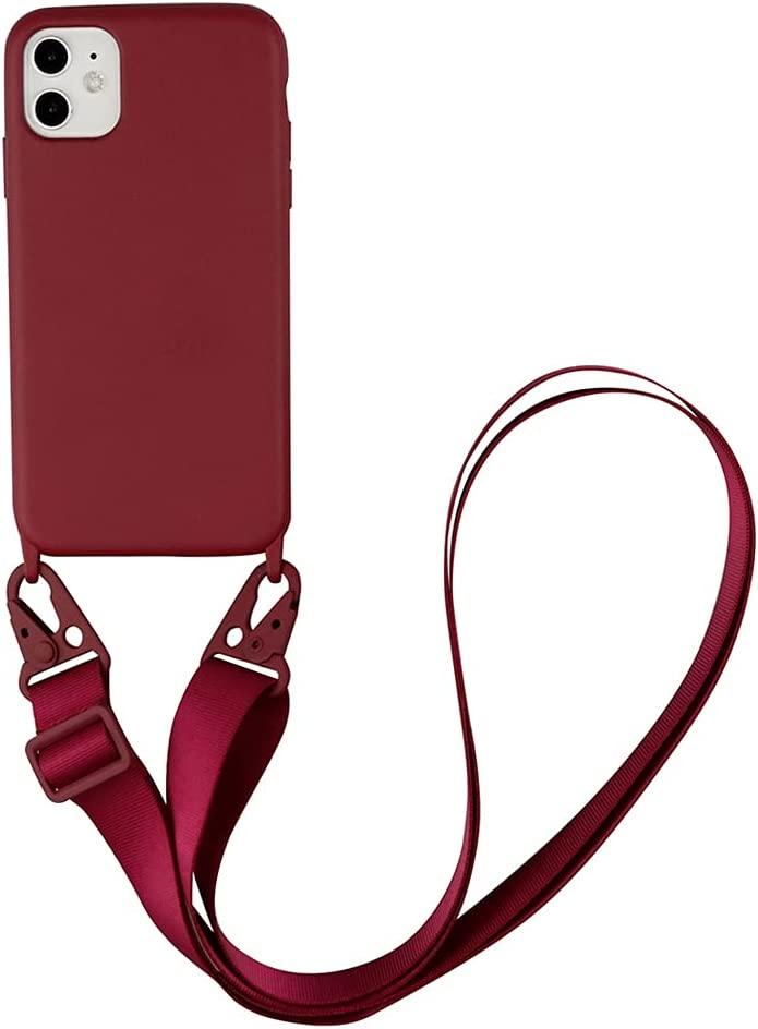 Fycyko Compatible with iPhone 11 Case Silicone Crossbody Adjustable Strap Neck Lanyard Shockproof Protective Cover for iPhone 11 6.1 inch- Red