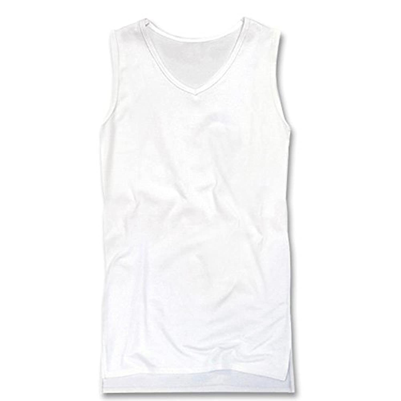[スワンユニオン] swanunion タンクトップ メンズ ロング丈 Vネック 無地 ノースリーブ ホワイト 白 f676-xl