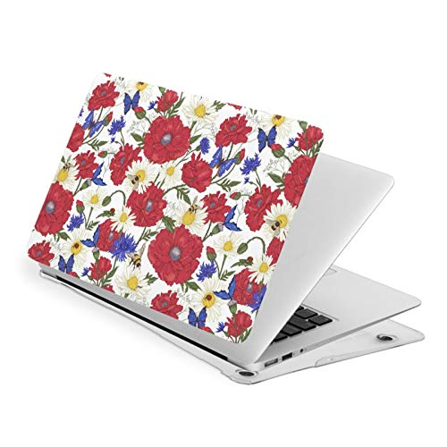 MacBook Air 13 Inch Laptop Sleeve Hard Shell Case,Blooming Red Poppies and Bumblebee Bees Laptop Protective Case Computer Hard Shell Case Cover Pro 13 New Air 13