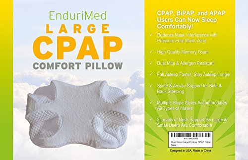 EnduriMed CPAP Pillow - Memory Foam Contour Design Reduces Face Mask Pressure & Air Leaks - 2 Head Rests for Max Comfort - Removable Foam Insert to Adjust Thickness - Stomach, Back, Side Sleepers