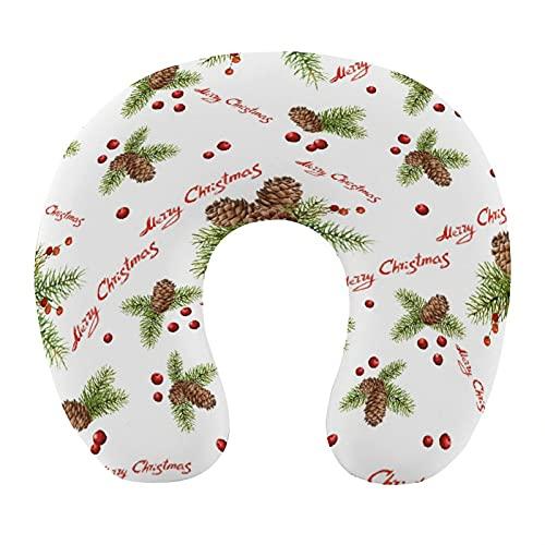 CIKYOWAY Almohada Viaje,Feliz Navidad Acuarela Patrón de Navidad con piñas y Bayas,Espuma de Memoria cojín de Cuello,Almohadas de Acampada,Soporte de Cuello para Viaje Coche