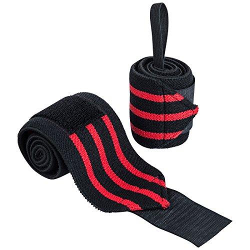 Ultrasport Handgelenkbandage, 2 Stück, schwarz/rot, 65cm Handgelenkbandage für Fitness, Bodybuilding, Kraftsport,Powerlifting & Crossfit, für Frauen und Männer geeignet, inklusive Daumenschlaufe