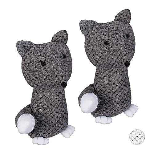 Relaxdays 2 x Türstopper Fuchs, dekorativer Türpuffer, für Boden, stehend, gefüllt, innen, 1 kg, Stoff Türsandsack, grau