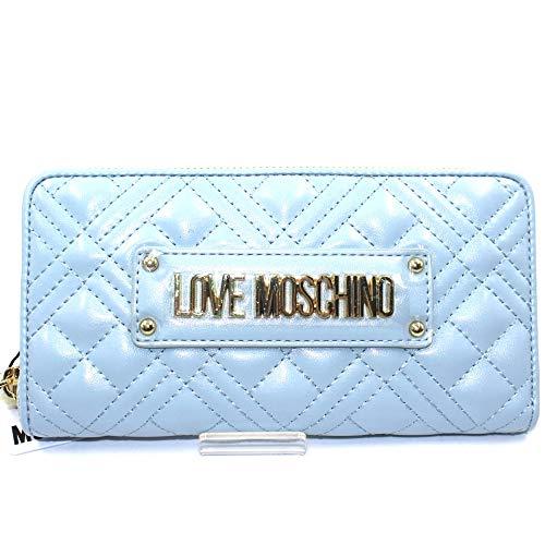 Love Moschino - Cartera para mujer de piel sintética acolchada de color celeste, tarjetero, billetera y monedero. JC5600PP1. Biosaborse.