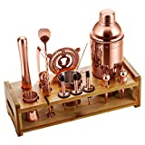 Soing Rose Copper 24-Piece Cocktail Shaker Set,Perfect Home Bartending Kit for Drink Mixing,Stainless Steel Bar Tools With Stand,Velvet Carry Bag & Recipes Included