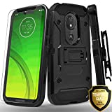 Moto G7 Power Case, Moto G7 Supra XT1955 Case, Moto G7 Optimo Maxx Case, With [Tempered Glass Screen Protector] Full Cover Heavy Duty Dual Layers Phone Cover with Kickstand and Locking Belt Clip-Black