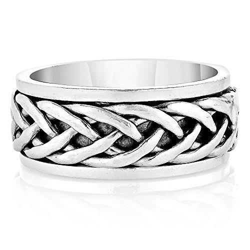 925 Oxidized Sterling Silver Woven Celtic Knot Rope Design Eternity Band Ring Unisex Size 8