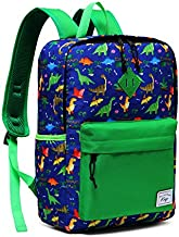 Kids Backpack, Kasqo Lightweight Water Resistant Preschool Rucksack for Little Boys and Girls with Water Bottle Pockets (Green)