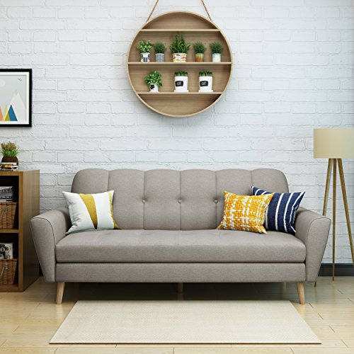Christopher Knight Home Angelina Mid Century Fabric Sofa, Beige/Natural
