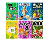 Regal Games Classic Card Games Including Old Maid, Go Fish, Slapjack, Crazy 8's, War, and Banapples Jr. (All 6 Games)