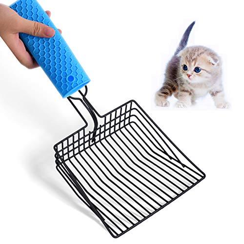 Jiechang Pala para arena de gato de acero inoxidable, tamaño grande, pala profunda de tamizado rápido, herramienta de limpieza de mascotas con mango cómodo para propietarios de varios gatos