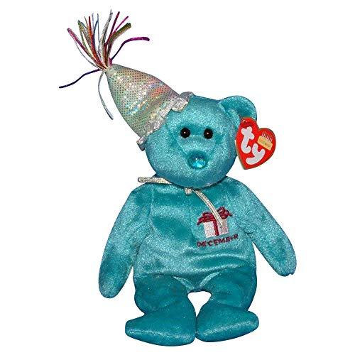 TY~BIRTHDAY BEARS 1 X TY December Birthday Bear with Hat Beanie Baby [Toy]