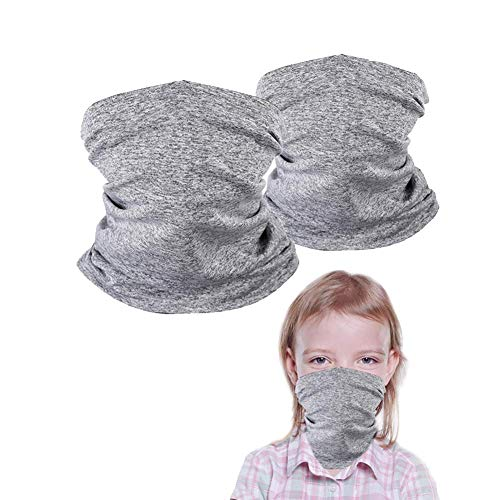 Lurcos 2 Pack Kids Neck Gaiters, Unisex Face Scarf For Kids, Kids Face Cover for Outdoors/Festivals/Sports, Gray (Kids neck gaiters-girls)