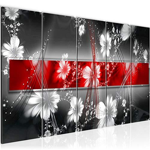 Runa Art Wandbild XXL Abstrakt Blumen 200 x 80 cm Rot 5 Teilig - Made in Germany - 104455a