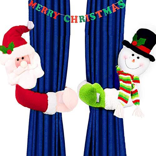 MSDADA Weihnachtsvorhang-Raffhalter mit Weihnachtsmann- und Schneemann-Schnalle, 2 Stück Fenster-Dekorationen, Karikatur-Puppenvorhang, Schlafzimmer, Wohnzimmer, Vorhang-Hakenverschluss