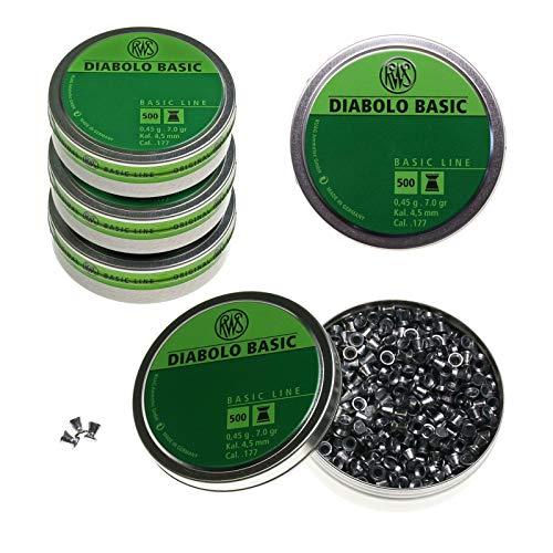 RWS MAXIPACK Diabolos Basic - Kal. 4,5 mm - 0,45g - 2500 Stck. (5 Dosen)