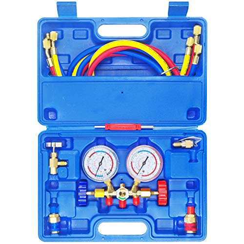 Price comparison product image JIFETOR 3 Way AC Manifold Gauge Set,  HVAC Diagnostic Freon Charging Tool for Auto Household R12 R22 R404A R134A Refrigerant,  Quick Couplers Acme Adapter Valve Core Tool (5FT Hose,  Can Tap