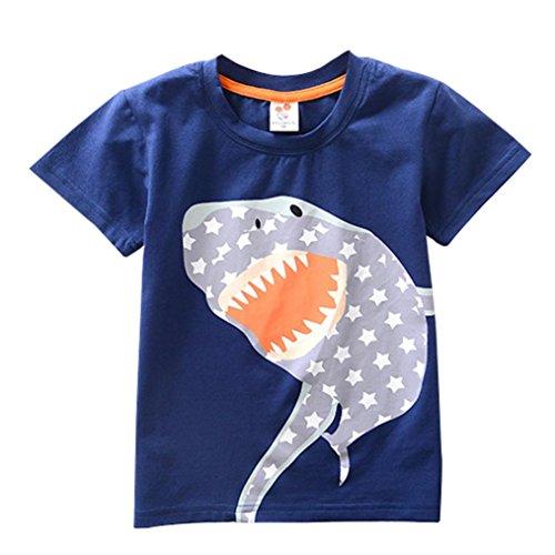 JERFER Kleinkind Kinder Baby Jungen Mädchen Kleidung Kurzarm Cartoon Tops T-Shirt Bluse (Dunkelblau B, 3T)