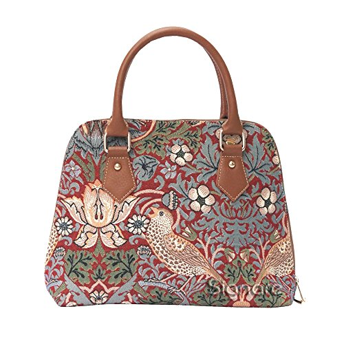 Mittelgroße Handtasche/-Schultertasche für Damen (Erdbeere rot) – im Gobelin Stil