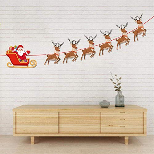 ZHANGYY Santa Doll Gift Paper Garlands Hanging Flag Decoration Banquet Decoration Flag for Christmas Christmas Decorations Happy New Year 30,A,China