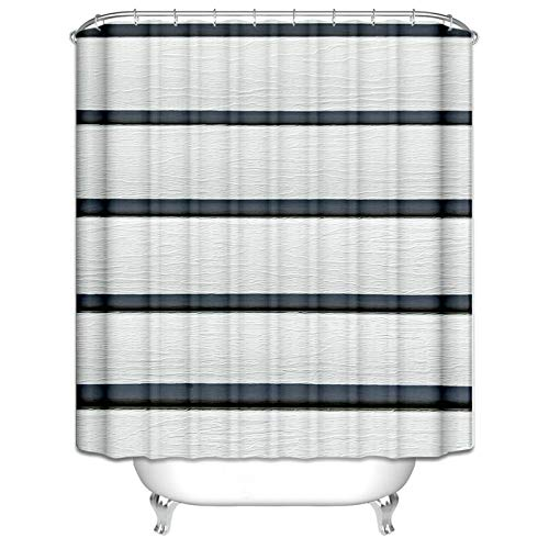 Ukilook Shower Curtain Polyester Bathtub Curtain Waterproof, Stripe Safe Shower Curtain, Waterproof Polyester Fabric, Washable, Modern Home Bathroom Decorations Black White 48X72 Inch