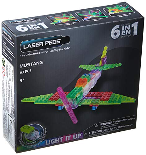 Blocos de Montar ZippyDo Avião Mustang 6 em 1, Laser Pegs, Colorido
