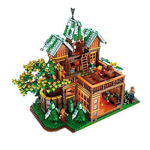 hsj MOC Christmas Street View Winter Time Tree House Villa High Difficulty Adult Assembled Building Block Toy Model Exquisite workmanship