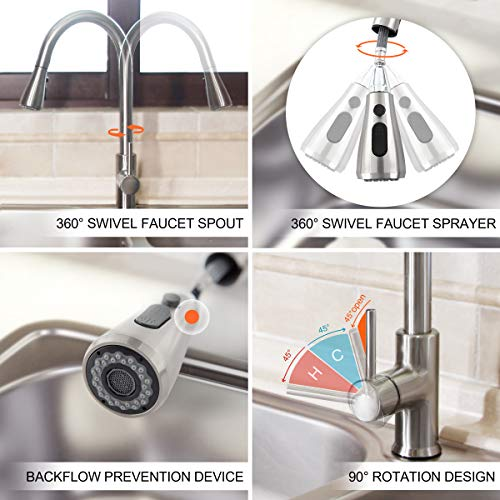 Kitchen Faucet with Pull Down Sprayer, Kitchen Sink Faucet, Single Handle High Arc Pull Out Brushed Nickel Sinks Faucet