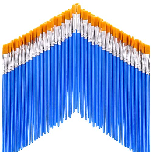 anezus Paint Brushes Set of 50 Pcs, Kids Small Paint Brushes Craft Flat Paint Brushes Bulk for Craft Watercolor Acrylic Oil