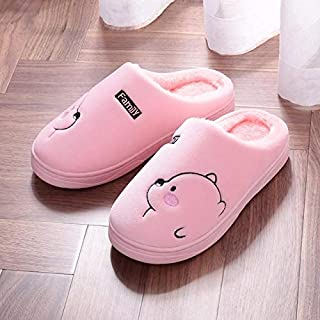 YANGLAN new winter men's cotton slippers home indoor home with heavy-bottomed non-slip plush slippers warm winter woman Household slippers (Color : E, Size : (40~41))
