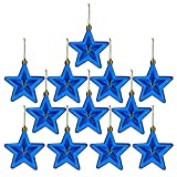 Whiidoom 12 Pieces Hanging Star Ornament Shatterproof Holiday Christmas Tree Decoration (Blue)