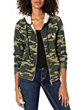 True Religion Women's Victorious Long Sleeve Zip Up Hoodie, Camo Print, Small