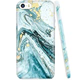 JIAXIUFEN Gold Sparkle Glitter Blue Marble Slim Shockproof Flexible Bumper TPU Soft Case Rubber Silicone Cover Phone Case Compatible with iPhone 5 5S SE