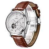 BINLUN 腕時計 メンズ 自動巻 ビジネス 両面 スケルトン シースルーバック 機械式腕時計 ブラウン レザーバンド Dバックル 新年の贈り物父の日ギフト ウォッチ [並行輸入品]