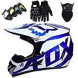 Casco Motocross Niño, Casco de Cross con Diseño FOX, Casco MTB Integral de Blanco Azul con Gafas Máscara Guantes para Moto Carreras ATV Quad Enduro Downhill Off Road