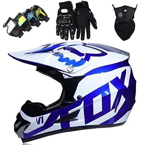 YEDIA-01 - Casco de motocross para niños y niñas, con diseño de FOX, juego de casco de MTB de cara completa para Downhill Racing ATV Enduro Minimoto con gafas/guantes/máscara, blanco azul, XL
