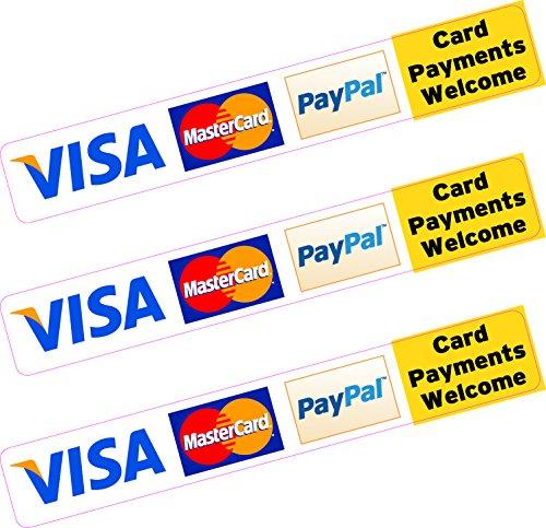 3x PayPal Visa Mastercard Kreditkarte Aufkleber bedruckt Vinyl Shop Taxi