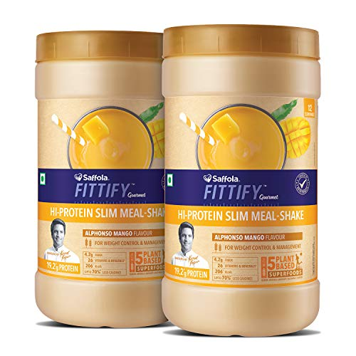 Saffola FITTIFY Gourmet FITTIFY Hi-Protein Slim Meal Shake for weight management- Alphonso Mango, 420gm (Pack of 2)