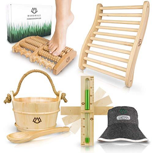 Sauna Eimer mit Kelle aus 100% nordischer Fichte - Hochwertiges Sauna Zubehör - Einsatz, Hanftrageseil & Gratis E-Book - Wellness Aufguss Komplett Paket - Saunaeimer Set