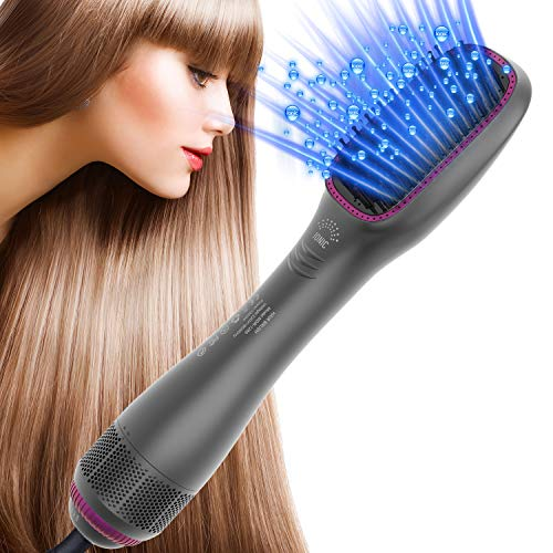 LESCOLTON Hair Dryer Brush Straightener One Step Hair Dryer and Styler with Negative Ion for Reducing Frizz and Static (Grey)