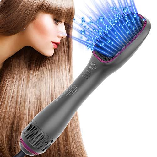 LESCOLTON Cepillo Alisador Express de Aire Caliente 1288 con generador de Iones que reduce la electricidad estática y el encrespamiento. Función 3 en 1 alisa el cabello mientras lo seca. (Grey)