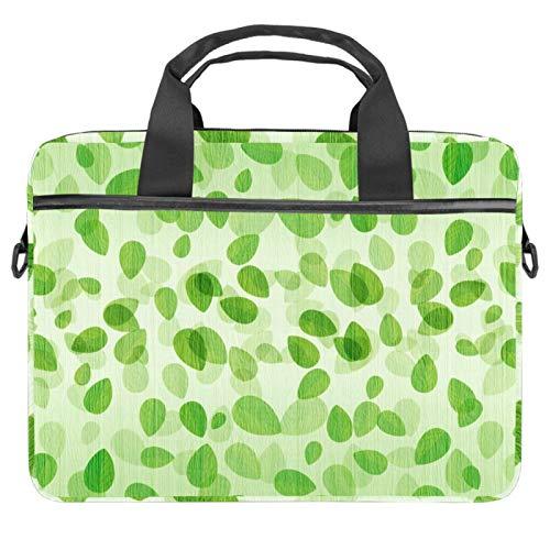 Lightweight 19 inch Laptop Bag ,Business Messenger Briefcases Waterproof Computer Tablet Shoulder Bag Carrying Case Handbag for Men and Women Green Leaves Spring Seamless