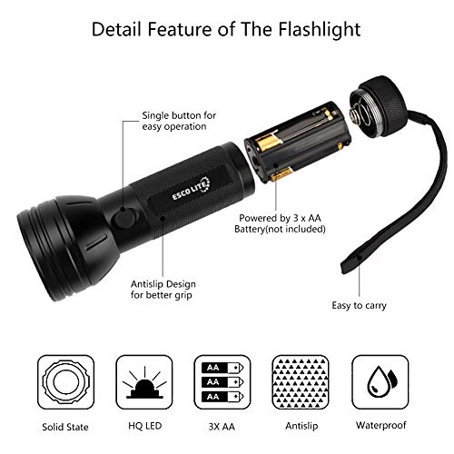 Escolite UV Flashlight Black Light, 51 LED 395 nM Ultraviolet Blacklight Detector for Dog Urine, Pet Stains and Bed Bug