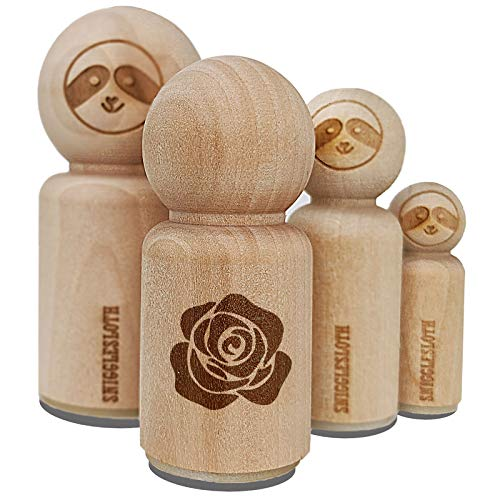 Rose Flower Solid Rubber Stamp for Stamping Crafting Planners - 1/2 Inch Mini