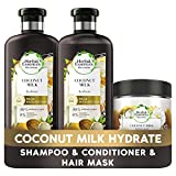 Herbal Essences Bio Renew Coconut Milk Shampoo, Conditioner and Hair Mask Set for Hydrating Hair, Smells Like Coconut Oil Hair Care, A Set of Natural Hair Products