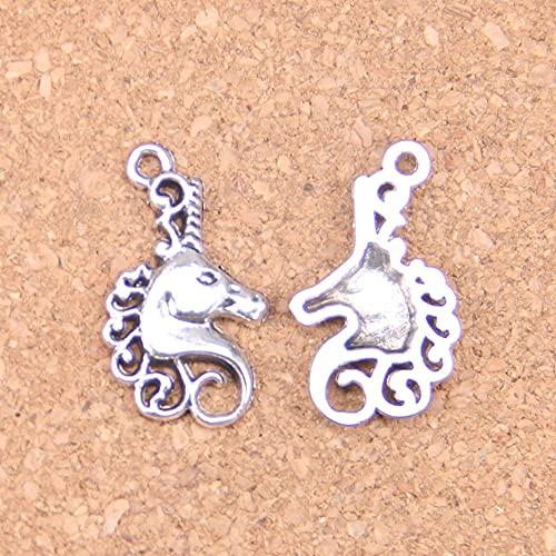 WANM Colgante 14 Uds Encantos De Cabeza De Caballo 26X15Mm Colgantes Antiguos Joyería De Plata Tibetana Vintage DIY para Collar De Pulsera