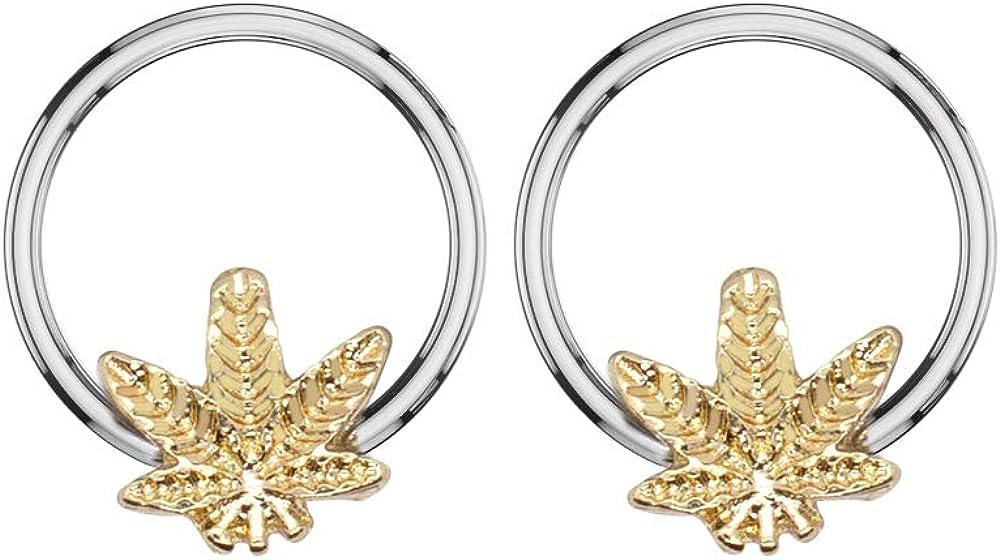 Pierce2GO Gold 16G 2Pcs 316L Gold Stainless Steel Marijuana Leaf Captive Ring 3/8