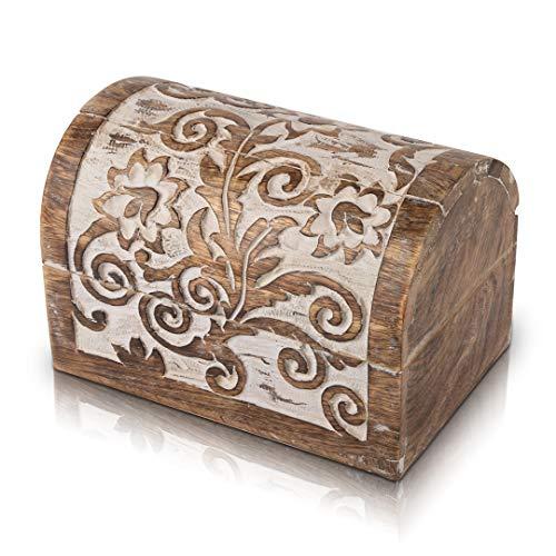 Tolles Geburtstagsgeschenk, handgefertigt, dekorative Holz-Schmuckschatulle mit Schloss und Schlüssel, Schmuck-Organizer, Schatztruhe, Schmuckkästchen, Uhrenbox, Aufbewahrungsschloss, 22 x 15 cm