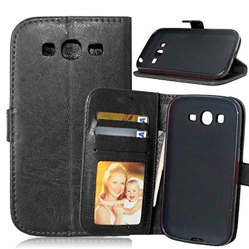 JEEXIA Custodia in Pelle per Samsung Galaxy Grand Neo Plus/Grand Neo (i9060), Alta qualità Affari PU Pelle Flip Cover con Funzione di con Supporto Fondina per Portafogli - Nero
