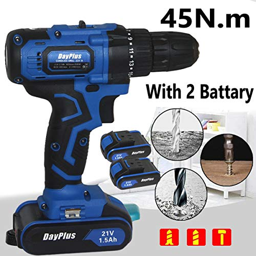 Fantastic Deal! 21V Cordless Drill Driver, Lightweight Electric Drill with 29pcs Bits, 2 1.5Ah Li-Io...